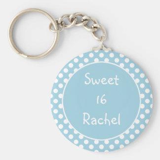 Porte - clé bleu du bonbon 16 à point de polka porte-clés
