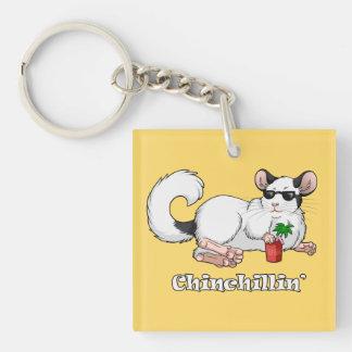 """""""porte - clé carré de Chinchillin'"""" Porte-clés"""