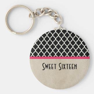 Porte - clé chic rose du bonbon 16 à Quatrefoil Porte-clés