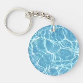 Porte - clé d'acrylique de l'eau de piscine porte-clé rond en acrylique double face