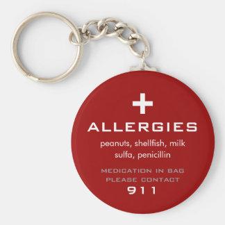Porte - clé d'allergies porte-clé rond