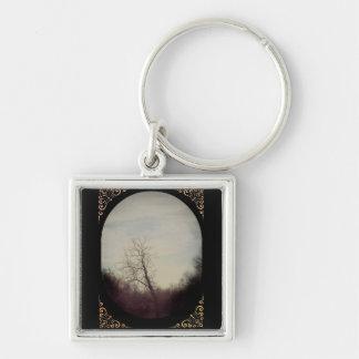 Porte - clé d'arbre d'hiver porte-clé carré argenté