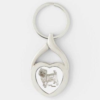 Porte - clé de coeur de Terrier de cairn - Porte-clé Argenté Cœur Torsadé