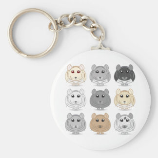 Porte - clé de conception de neuf chinchillas porte-clés