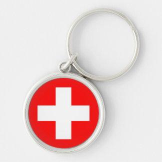 Porte - clé de drapeau de la Suisse Porte-clé Rond Argenté