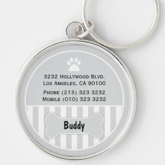 Porte - clé de gris d'étiquette d'identification porte-clé rond argenté