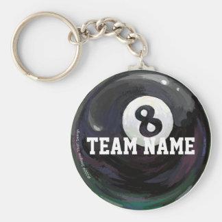 Porte - clé de nom d'équipe de 8 boules porte-clé rond