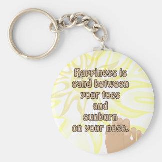 Porte - clé de soleil de sable de plage de bonheur porte-clé rond