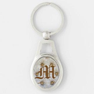 Porte - clé d'initiale de monogramme de tissu de porte-clé ovale argenté