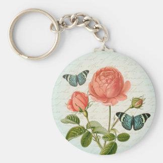 Porte - clé élégant de papillon floral de rose de porte-clés