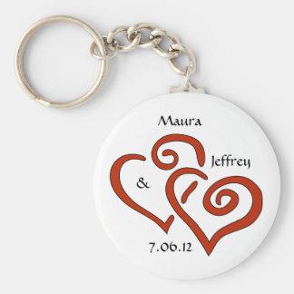 Porte - clé enlacé de coeurs avec le texte porte-clé rond