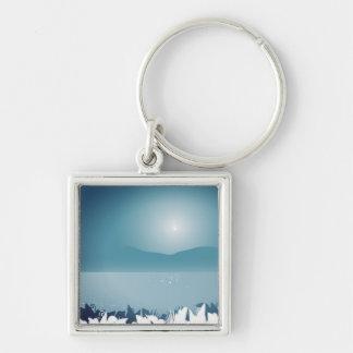 Porte - clé exotique de bouton : collection bleue porte-clé carré argenté