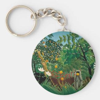 Porte - clé exotique de paysage de Henri Rousseau Porte-clé Rond