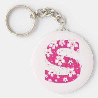 Porte - clé floral assez rose initial du porte-clé rond