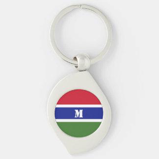 Porte - clé gambien de drapeau porte-clé swirl argenté