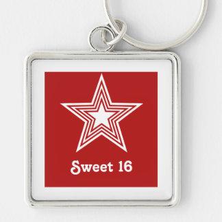 Porte - clé génial du bonbon 16 à étoile, rouge porte-clés