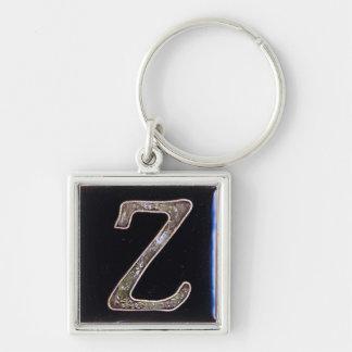 porte - clé initial, cloisonne, argent et noir de porte-clé carré argenté