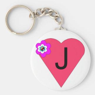 Porte - clé initial de coeur de J Porte-clé Rond