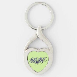 Porte - clé initial porte-clé argenté cœur torsadé