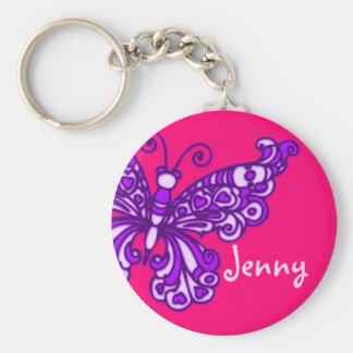 Porte - clé nommé rose pourpre de filles de porte-clé rond