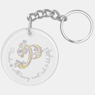 Porte - clé personnalisé par nom initial de filles porte-clé rond en acrylique double face