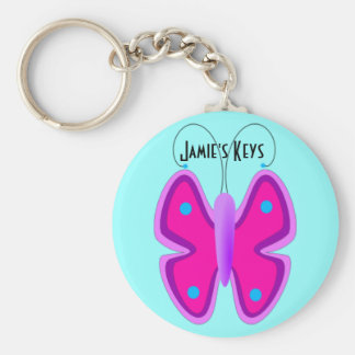 Porte - clé rose de papillon porte-clés