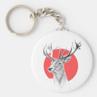 Porte - clé rouge de cercle de dessin au crayon de porte-clés