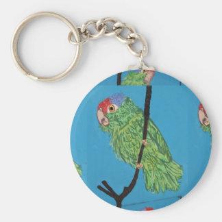 porte - clé vert de perroquet porte-clé rond