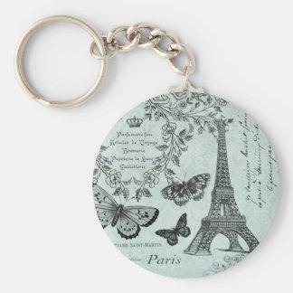Porte - clé vintage de Tour Eiffel et de papillons Porte-clé Rond