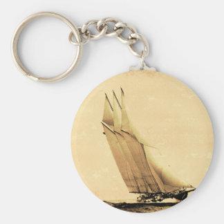 Porte - clé vintage de yacht d'emballage porte-clé rond