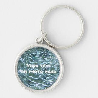 Porte-clés Aigue-marine en verre crépitée de mars de