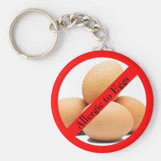 Porte-clés Allergique au porte - clé rond d'oeufs