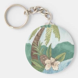 Porte-clés Aloha noix de coco, ananas, conception de ketmie