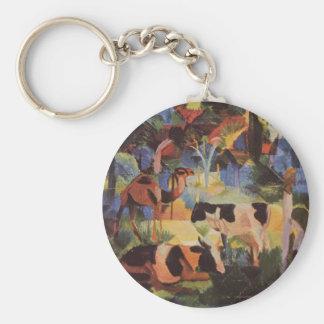 Porte-clés Aménagez en parc avec des vaches et un chameau