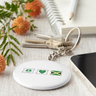 Porte-clés Amour de paix et carrés de la Jamaïque