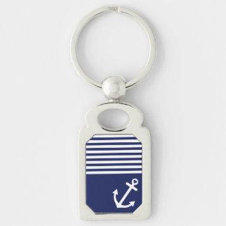 Porte-clés Ancre d'amour de bleu marine nautique
