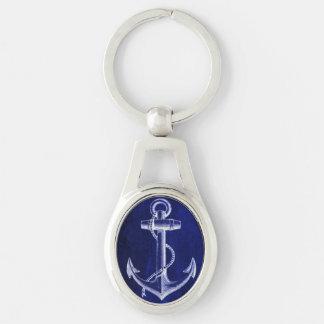 Porte-clés ancre nautique chic côtière de bleu marine de
