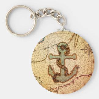 Porte-clés Ancre nautique de cru de carte de plage côtière