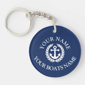 Porte-clés Ancre nautique de nom fait sur commande de bateau