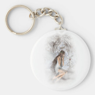 Porte-clés Ange gothique et sa vignette de colombe