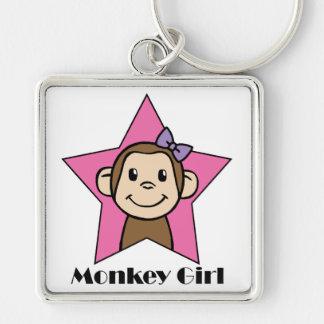 Porte-clés Arc d'étoile de rose de fille de singe de sourire