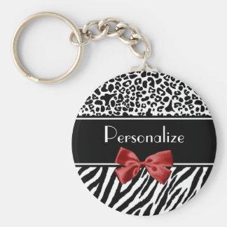 Porte-clés Arc rouge de léopard d'impression noir et blanc à