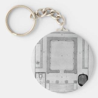 Porte-clés Arrière de plan et d'altitude du temple de la