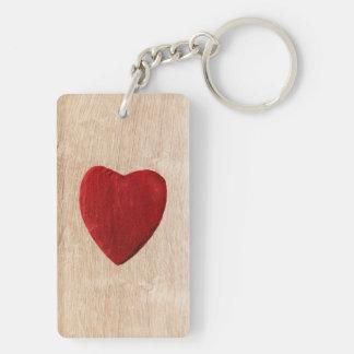 Porte-clés Arrière-plan de bois coeur