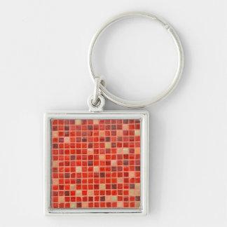 Porte-clés Arrière - plan rouge de tuile de mosaïque