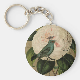 Porte-clés Art botanique français de camélia vintage chic