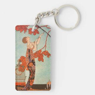 Porte-clés Art déco vintage, oiseau frivole par George