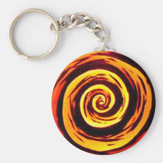 Porte-clés Art hypnotique génial de remous de rouge orange