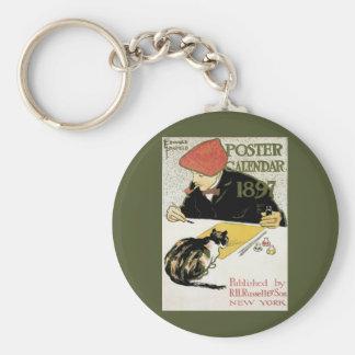 Porte-clés Art vintage Nouveau, peinture d'artiste avec le