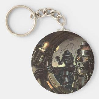 Porte-clés Astronautes vintages de la science-fiction sur une